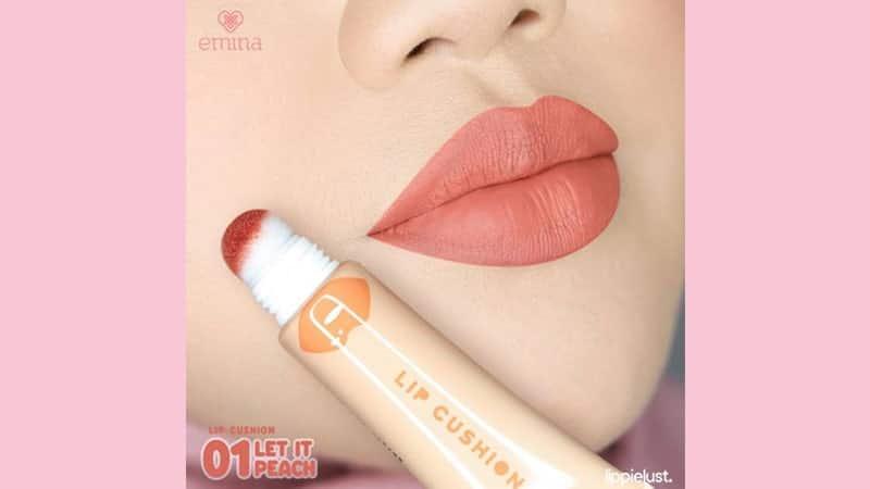 Emina Lip Cushion Swatches Warna - Let It Peach